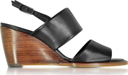 Robert Clergerie Gumi Black Leather Wedge Sandal