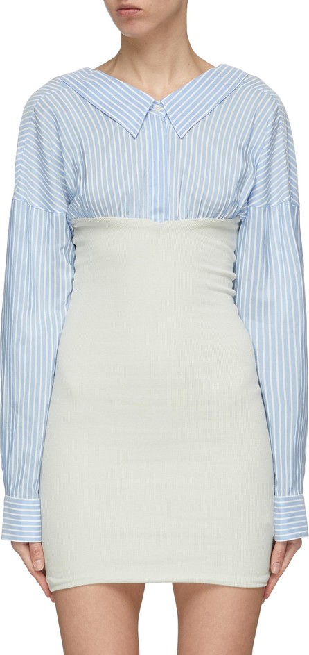 Ben Taverniti Unravel Project Convertible rib knit panel stripe shirt dress