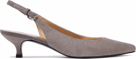 Stuart Weitzman Pocosling metallic textured-leather slingback pumps