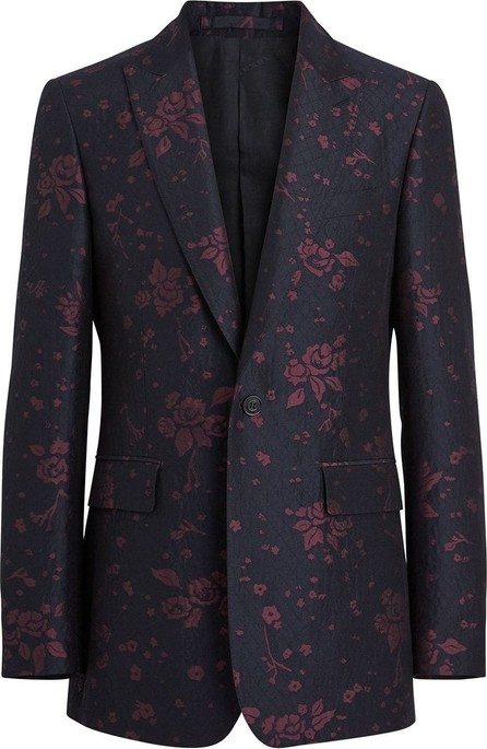 Burberry London England Slim Fit Silk Wool Matelassé Evening Jacket