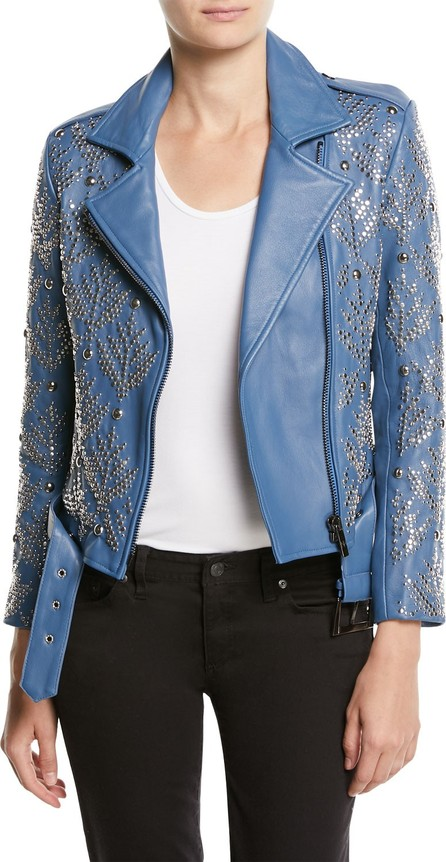 Nour Hammour Mary-Jane Zip-Front Studded Lamb Leather Moto Jacket