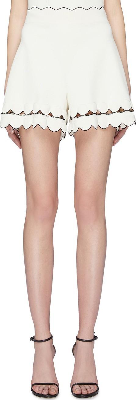 Alexander McQueen Scalloped cutout border knit shorts