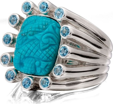 Stephen Dweck Carved Turquoise Silver Statement Ring w/ Blue Topaz