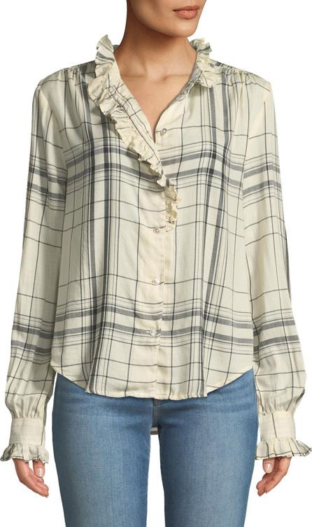 FRAME DENIM Ruffled Button-Front Long-Sleeve Plaid Shirt