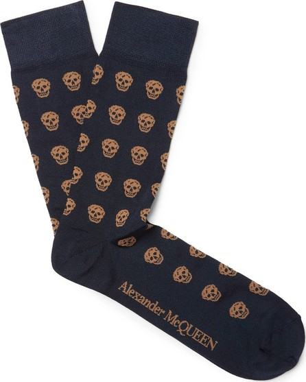Alexander McQueen Intarsia Stretch Silk-Blend Socks