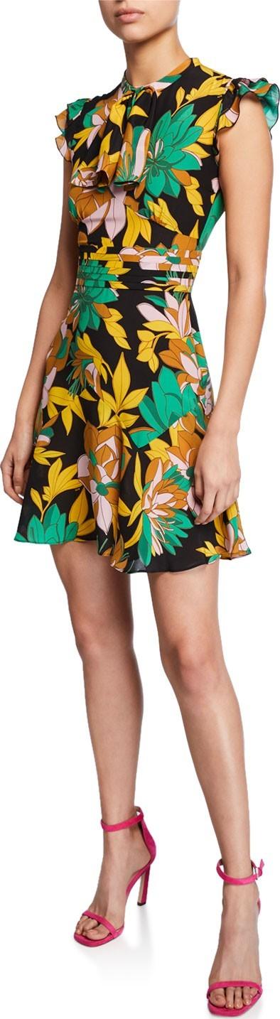 Nº21 Floral-Print Cap-Sleeve Silk Dress