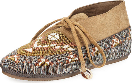 FIGUE Wolf Beaded Moccasin Flat