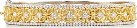 Jack Kelege & Company 18K White & Yellow Gold Floral Filigree Bracelet with Diamonds