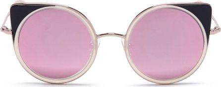 Matthew Williamson Colourblock acetate rim metal cat eye sunglasses