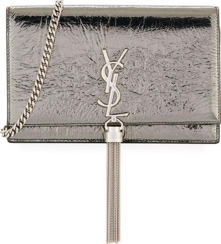 Saint Laurent Monogram YSL Kate Crinkled Metallic Tassel Wallet on Chain