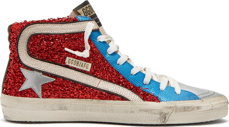 Golden Goose Deluxe Brand Slide lurex and leather mid-top trainers