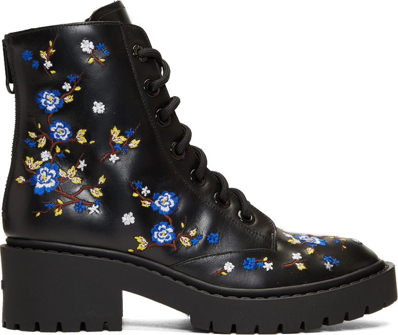 c2c029cf73 KENZO Black Floral Pike Boots - Mkt