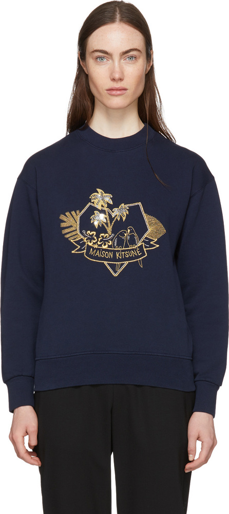 Maison Kitsune Navy Love Blazon Sweatshirt