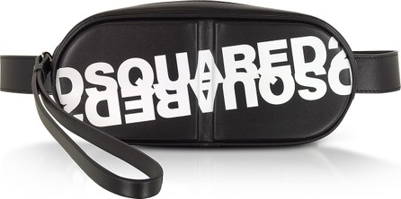 DSQUARED2 Dsquared2 Printed Black Calf Leather Pill Belt Bag