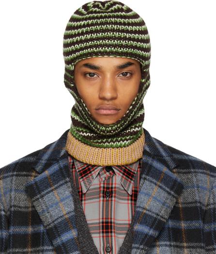 Calvin Klein 205W39NYC Brown & Green Striped Balaclava