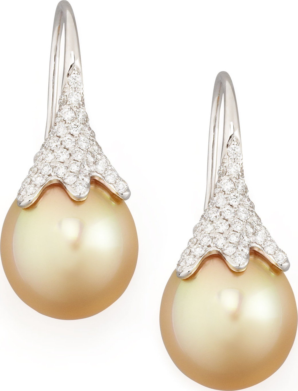 Eli Jewels Golden South Sea Pearl And Diamond Drop Earrings White Gold