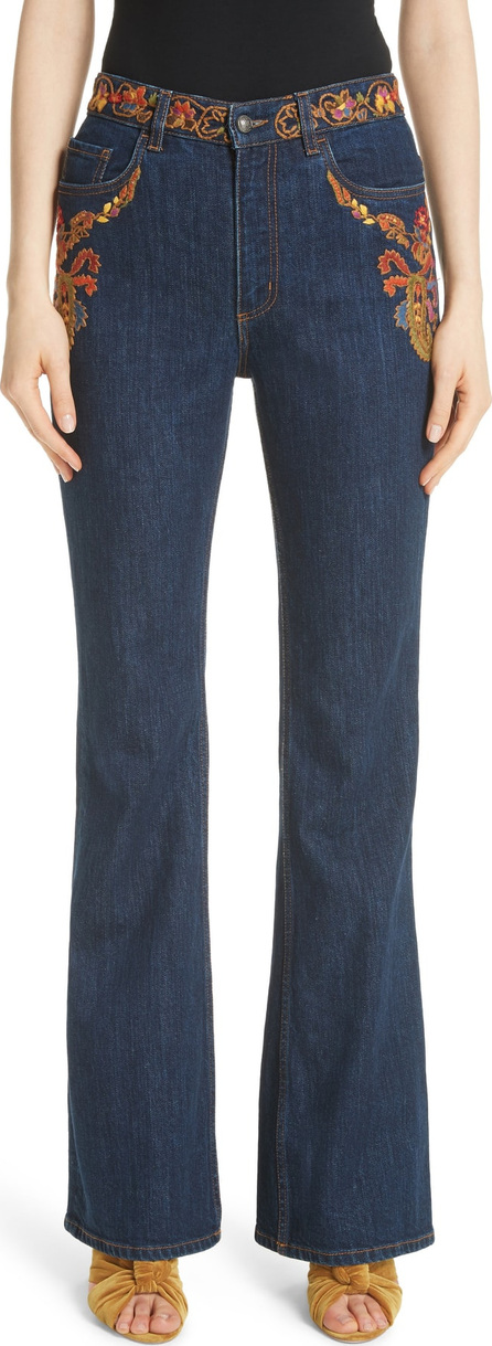 Etro Paisley Embroidered Flare Jeans