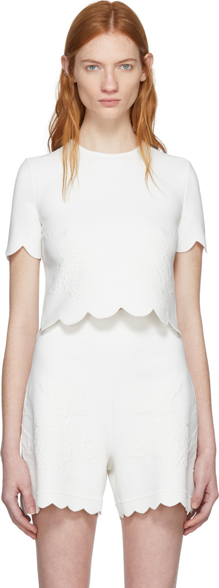 Alexander McQueen Ivory Short Sleeve Cropped Crewneck Pullover
