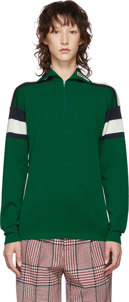 Gucci Green Striped Zip Sweater