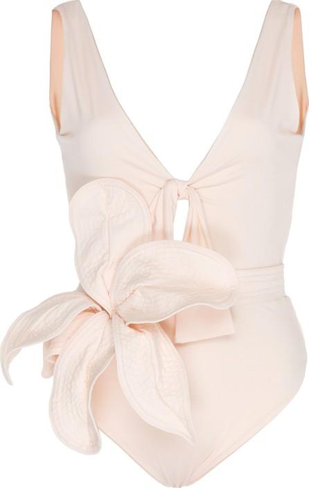 Johanna Ortiz White Shadows Flower-Embellished One-Piece Swimsuit