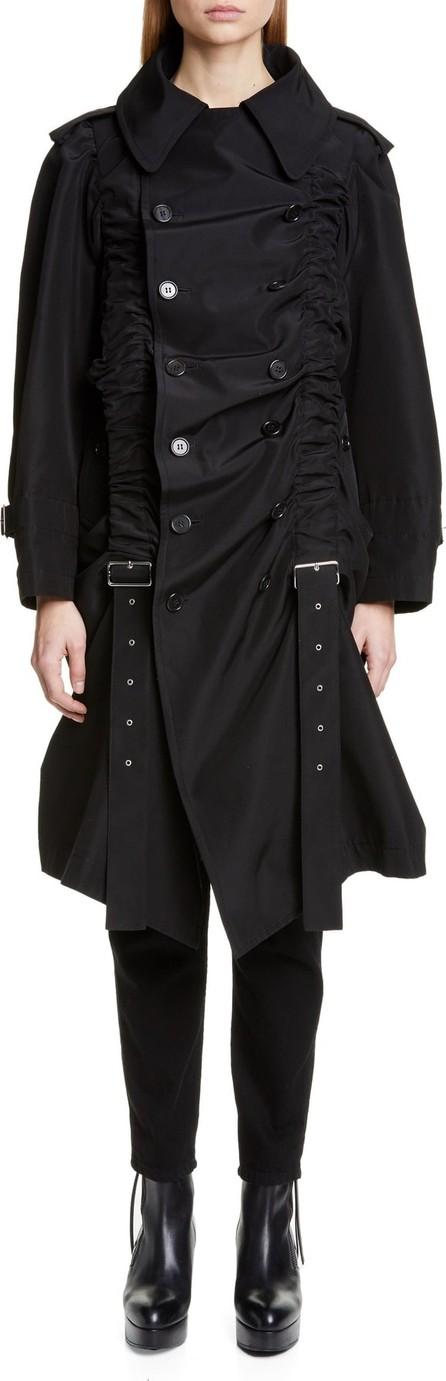 Noir Kei Ninomiya Belt Ruched Double Breasted Cotton & Silk Coat