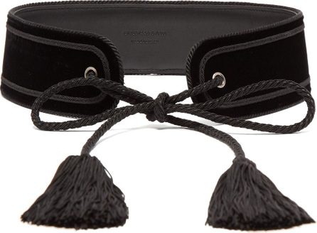 Saint Laurent Tassel-tie velvet belt