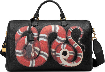 Gucci Men's King Snake-Print Duffel Bag