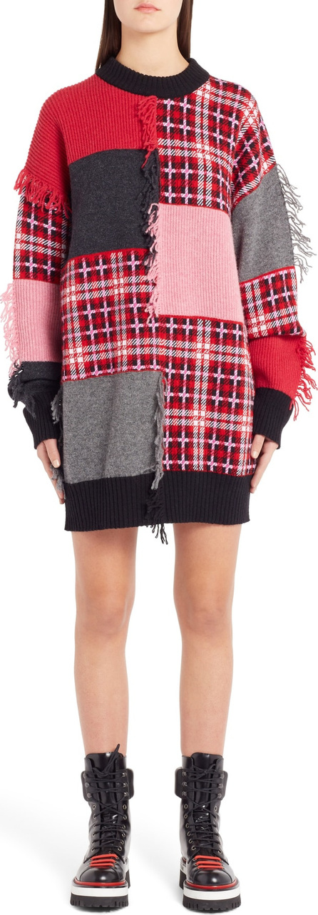 MSGM Patchwork Wool Blend Sweater Dress