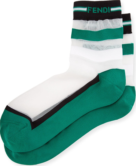 Fendi Striped-Knit Nylon Socks