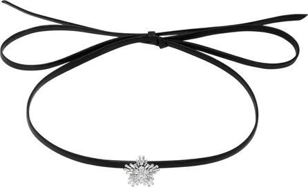 Fallon Mini Monarch Crystal-Embellished Leather Choker