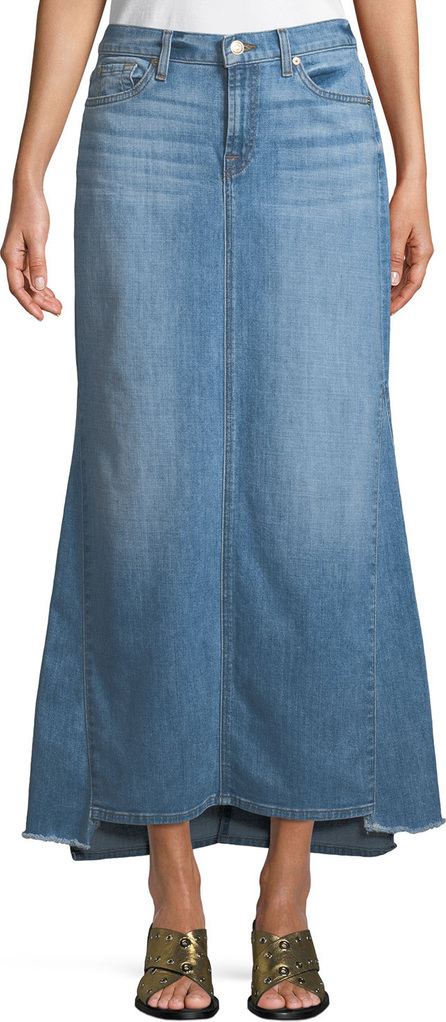 7 For All Mankind Step-Hem Denim Maxi Skirt