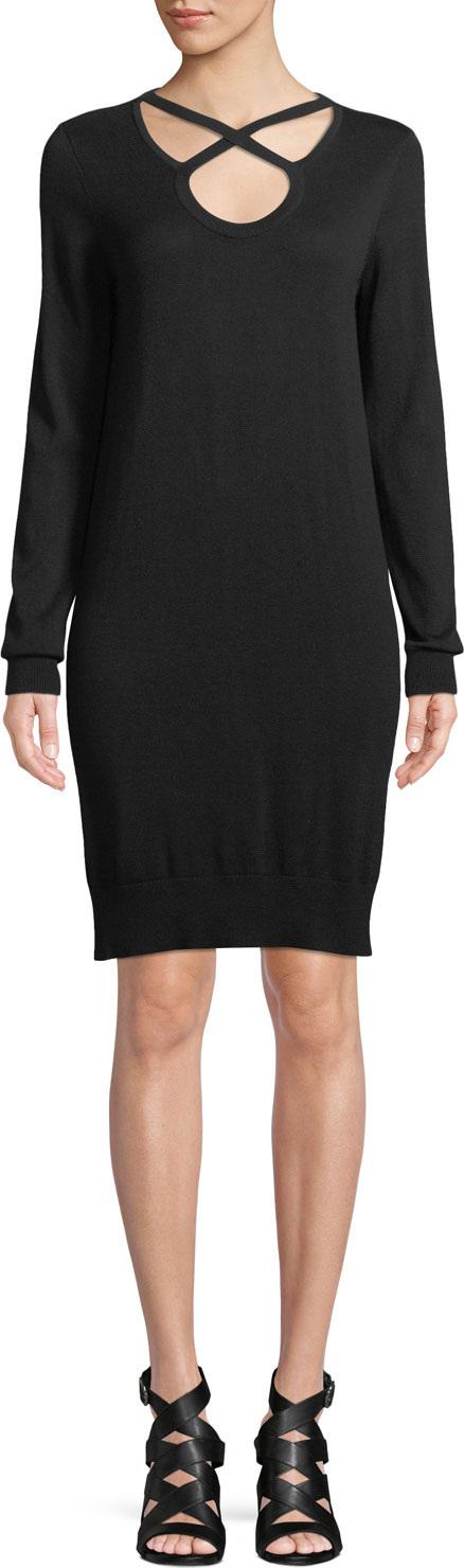 MICHAEL MICHAEL KORS Cutout-Neck Long-Sleeve Cotton-Blend Shift Dress