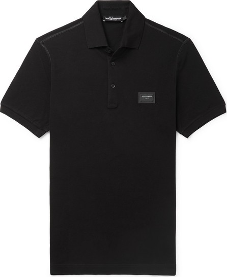 Dolce & Gabbana Slim-Fit Logo-Appliquéd Cotton-Piqué Polo Shirt