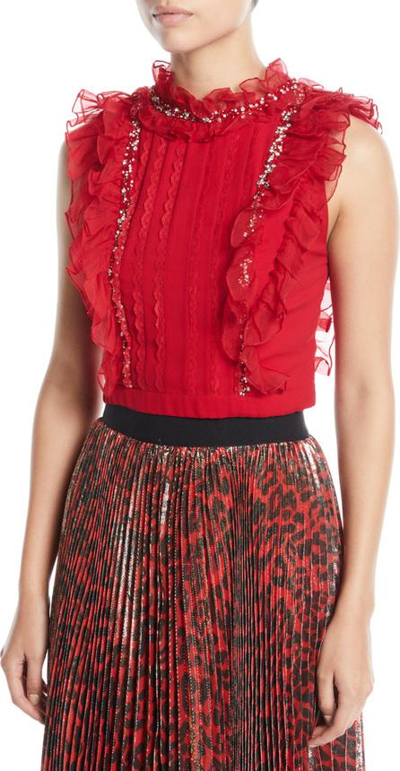 Alice + Olivia Gwen Embellished Pintuck Ruffle Crop Top