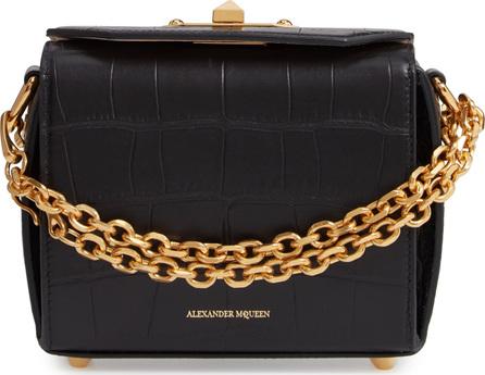 Alexander McQueen Mini Box Croc-Embossed Leather Bag