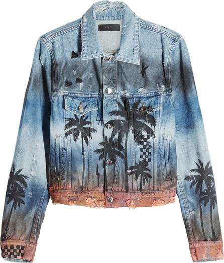 Amiri Distressed Denim Jacket with Palm Print