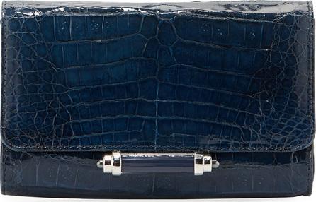Judith Leiber Sloane Mini Metallic Crocodile Evening Clutch Bag