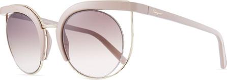 Salvatore Ferragamo Negative Space Metal & Plastic Cat-Eye Sunglasses