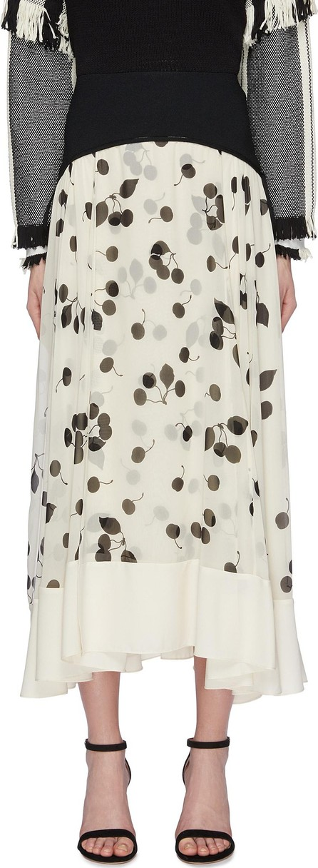 3.1 Phillip Lim Contrast waist panel cherry print pleated chiffon skirt