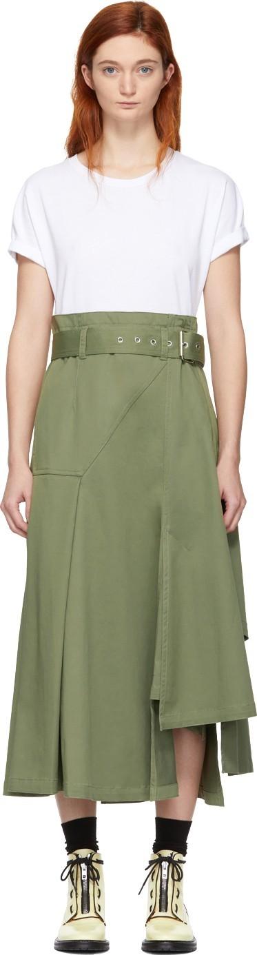 3.1 Phillip Lim White & Khaki Jersey T-Shirt Dress