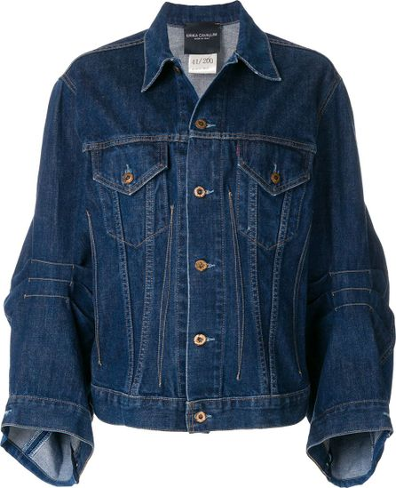 Erika Cavallini fitted waist denim jacket