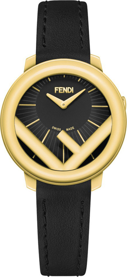Fendi 28mm Run Away Watch with Leather Strap, Black