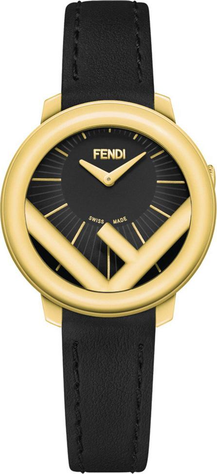Fendi 28mm Run Away Watch with Leather Strap, Black