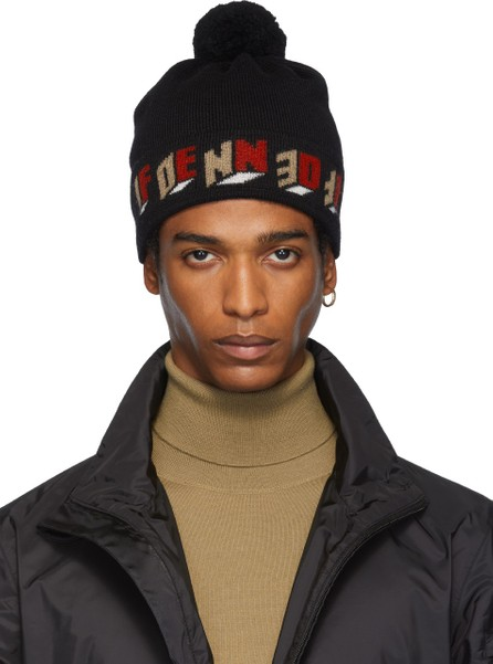 Fendi Black Wool '3D Fendi' Pom Pom Beanie