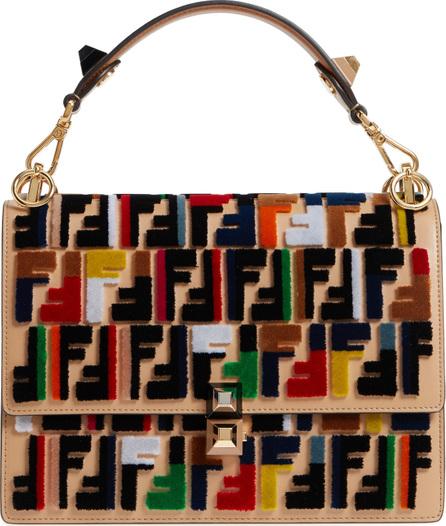 Fendi Kan I Logo Embellished Leather Shoulder Bag