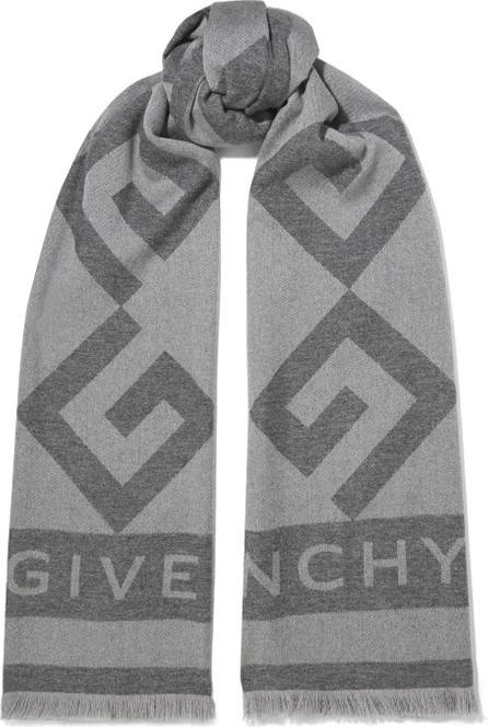 Givenchy Frayed wool and cashmere-blend jacquard scarf
