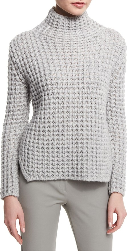 Armani Collezioni Popcorn-Knit Turtleneck Side-Split Sweater, Silver Gray
