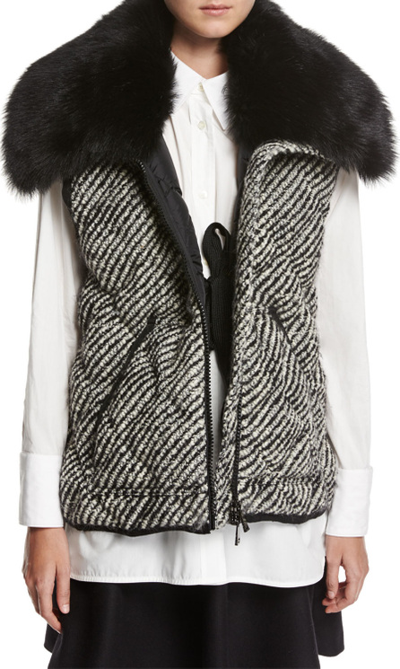 Moncler Eleagnus Tweed Quilted Vest w/ Fur Trim