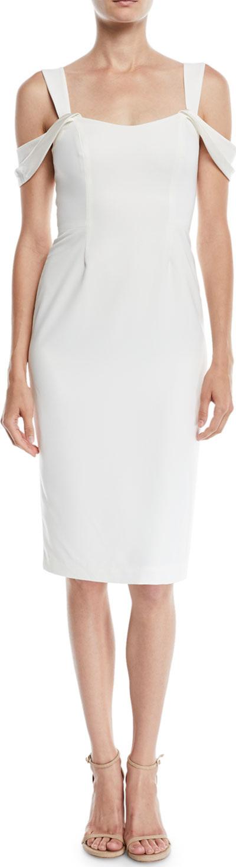 HALSTON HERITAGE Slim Crepe Cold-Shoulder Cocktail Dress