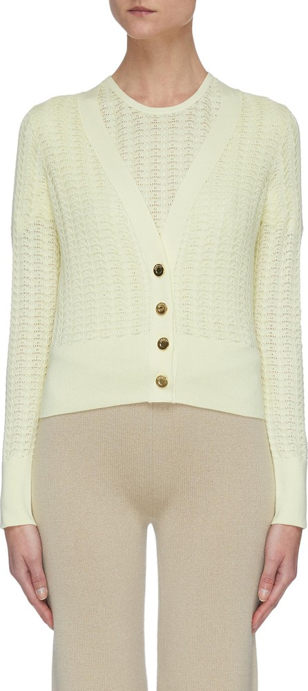 CRUSH Collection Metallic button silk-blend cardigan